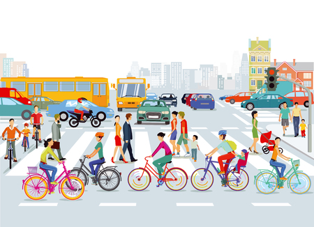 Illustration for City with road traffic, cyclists and pedestrians, illustration - Royalty Free Image