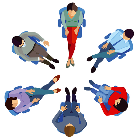 Illustration pour Discussion of business people in round course. seminar - image libre de droit
