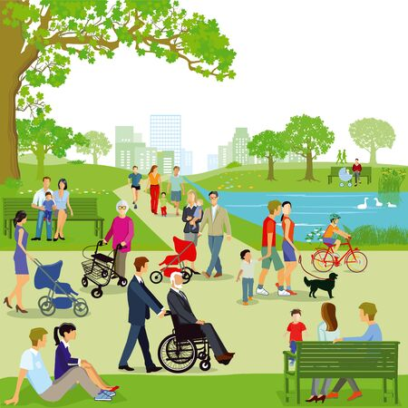 Illustration for Leisure time of families in the park, illustration - Royalty Free Image