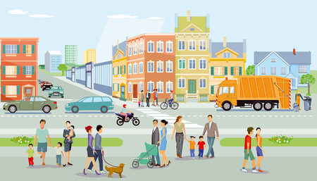 Illustration for City with pedestrians and traffic, illustration - Royalty Free Image