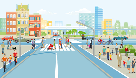 Illustration for Road junction with pedestrian and car traffic, illustration - Royalty Free Image