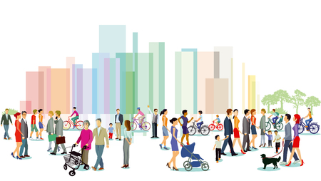 Illustration for City with groups of people. Vector illustration. - Royalty Free Image