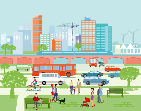 Illustration for Large city panorama with road traffic and pedestrians. Vector illustration. - Royalty Free Image