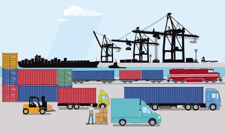 Photo pour Commercial port with freight train, truck and container ship - image libre de droit