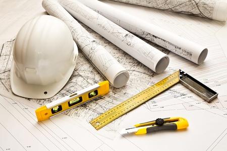 Photo pour architecture blue plans and work tool - image libre de droit