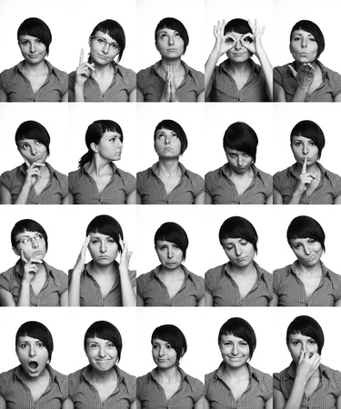 The thousand faces of the actor  Useful facial expressions over white background