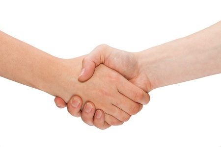 Photo for Woman and man handshaking  Isolated on white  - Royalty Free Image