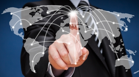Business man touching world map screen  Social network