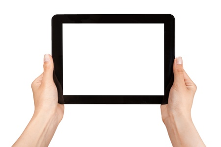 Foto de female hands holding a tablet touch computer gadget with isolated screen - Imagen libre de derechos