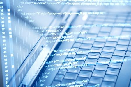 Photo pour Program code and computer keyboard - image libre de droit