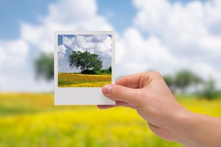 Photo pour Holding Instant photo on a autumn background  - image libre de droit