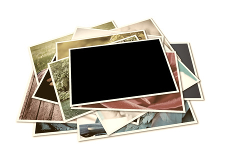 Photo for Stack of instant photographs isolated on white  - Royalty Free Image