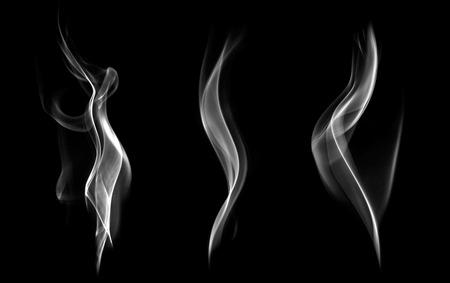 Foto de Abstract white smoke swirls on black background  - Imagen libre de derechos