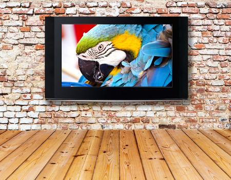 Foto de interior with a television set on an old wall - Imagen libre de derechos