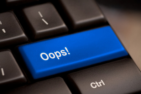 Photo for oops word on key showing fail failure mistake or sorry concept - Royalty Free Image