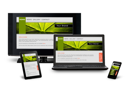 Photo pour Responsive web design on mobile devices phone, laptop and tablet pc - image libre de droit
