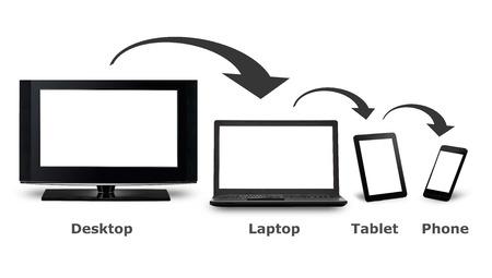 Foto de Responsive web design on mobile devices phone, laptop and tablet pc - Imagen libre de derechos