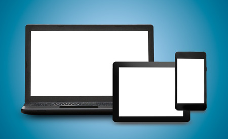 Foto de Responsive web design on mobile devices phone, laptop and tablet pc - Imagen libre de derechos