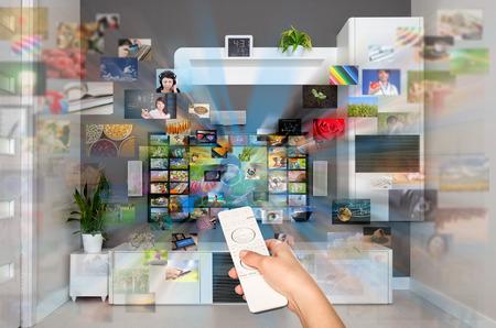 Photo pour Video on Demand VOD service on TV television concept. - image libre de droit