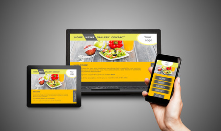Photo for Responsive web design on mobile devices phone, laptop and tablet pc - Royalty Free Image