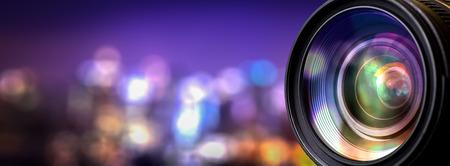 Foto de Camera lens with lense reflections. - Imagen libre de derechos