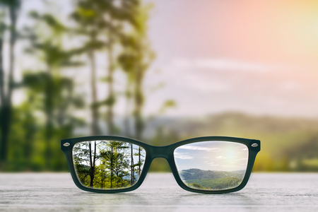 Photo for glasses focus background wooden - stock image - Royalty Free Image