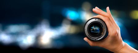 Photo pour photography view camera photographer lens lense through video photo digital glass hand blurred focus people concept - stock image - image libre de droit