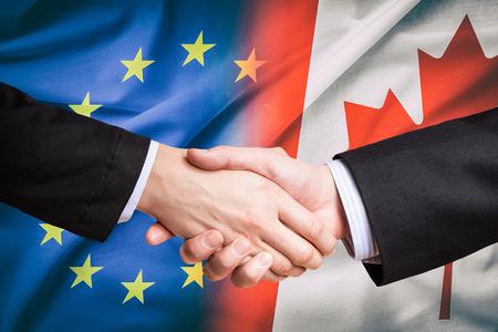 Photo for canada canadian partner european union euro eu rights usa ceta flag negotiation europa trade ttip economic concept - stock image - Royalty Free Image