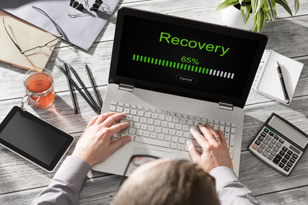 Photo for data backup restoration recovery restore browsing plan network corporate networking reserve business concept - stock image - Royalty Free Image