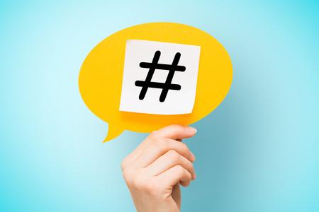 Photo pour hashtag post viral web network media tag marketing trending speech bubble blogging blog website strategy concept - stock image - image libre de droit