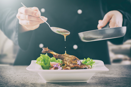 Photo for chef cooking restaurant food salad sauce gourmet molecular decorating kitchen dish garnish plate serving lunch top dinner concept - stock image - Royalty Free Image