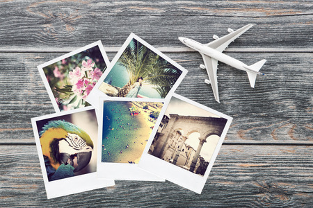 Foto de photo plane travel view traveler photograph album instant background top nostalgia collection concept - stock image - Imagen libre de derechos