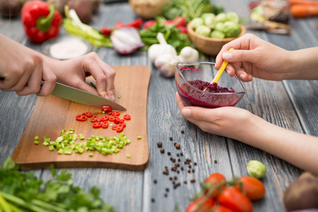 Photo for cooking food kitchen cutting cook hands man male knife preparation fresh preparing hand table salad concept - stock image - Royalty Free Image