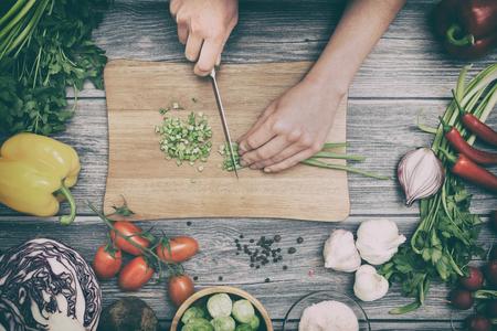 Photo pour cooking healthy lifestyle meal prepare food women life dinner vegan kitchen live diet hands salad chef happy concept - stock image - image libre de droit