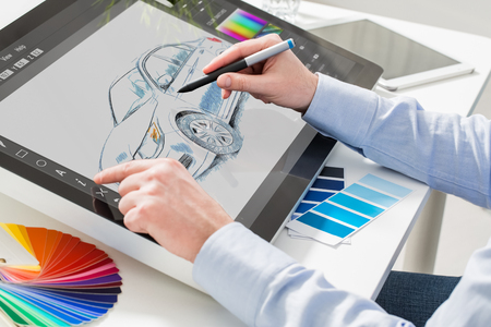 Foto de designer graphic drawing car creative creativity draw work tablet screen sketch designing coloring concept - stock image - Imagen libre de derechos