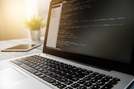 Foto für developer development web code tech coding program programming html screen script internet profession dictionary communication occupation identity concept - stock image - Lizenzfreies Bild