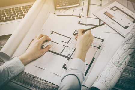 Foto de architect architecture drawing project blueprint office business working architectural construction design designer ruler table workplace concept - stock image - Imagen libre de derechos