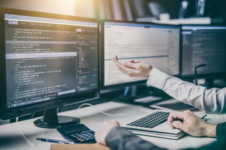Photo pour Developing programming and coding technologies. Website design. Cyber space concept. - image libre de droit