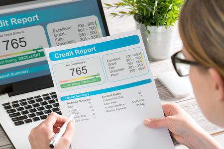 Photo pour report credit score banking borrowing application risk form document loan business market concept - stock image - image libre de droit