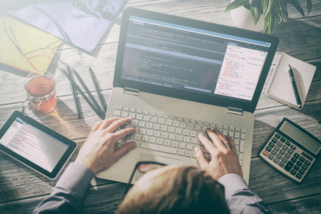 Photo pour coding code program programming developer compute web development coder work design software closeup desk write workstation key password theft hacking firewall concept - stock image - image libre de droit