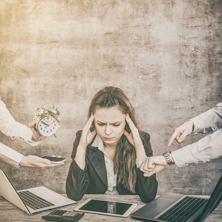 Photo for Female office worker is tired of work and exhausted. She has burned down and has depression. - Royalty Free Image
