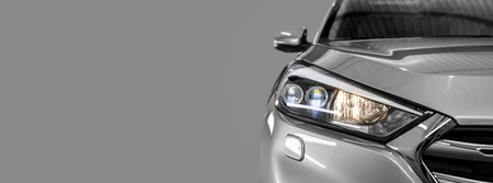 Foto per Gray modern car closeup on black background. - Immagine Royalty Free