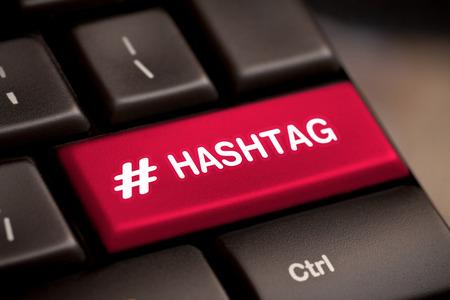Photo pour hashtag blogging blog content media social laptop keyboard key keypad business category concept - stock image - image libre de droit