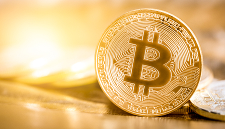 Photo for Bitcoin gold coin. - Royalty Free Image