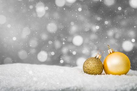 Foto de snow background closeup decoration white christmas golden gold space snowflakes bauble ball horizontal copy space nobody xmas glitter concept - stock image - Imagen libre de derechos