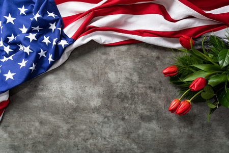 Foto de American flag for Memorial Day, 4th of July or Labour Day - Imagen libre de derechos