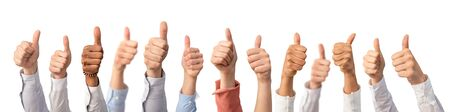 Photo for Hands showing the thumb and the symbol ok. Concept of winning people, winners. - Royalty Free Image
