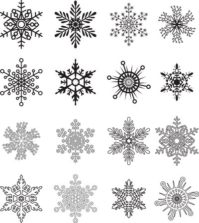 Illustration pour Snowflake collections Vector - image libre de droit
