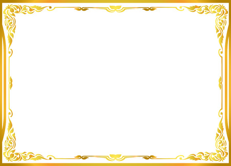 Ilustración de gold photo frame floral vector for picture - Imagen libre de derechos
