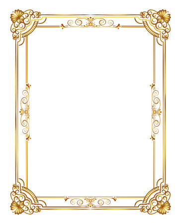 Illustration pour Gold photo frame with corner line floral for picture, Vector frame border design decoration pattern style. Thai art golden metal beautiful corner. - image libre de droit